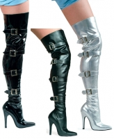 511-Buckleup Ellie Shoes, 5 Inch high heels Thigh High Sexy Boots Wit