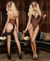 9318 Dreamgirl, Leopard print knit halter teddy ribbon lace-up front