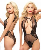 81533 Leg Avenue, Swiss dot sheer lace Brazilian back teddy