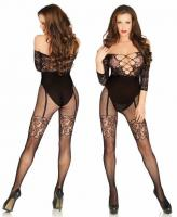 89200 Leg Avenue, Off the shoulder lace and net bodystocking opaque