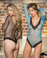 90384 Shirley Of Hollywood, Stretch open fishnet long sleeve teddy