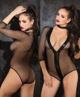 90395 Shirley Of Hollywood, Stretch fishnet sleeve teddy