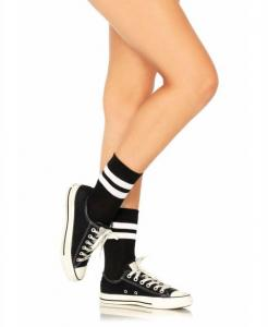 3038 Leg Avenue, Athletic striped anklet socks.