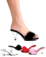305-Sasha Ellie Shoes,  3 inch Heel Marabou Slipper Shoes.