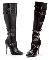 516-Lexi Ellie Boots 5 Inch Heels Pump Zipper Buckles Knee High Boots