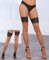 0337 Dreamgirl Cuban heel sheer stay up thigh high stockings and seam