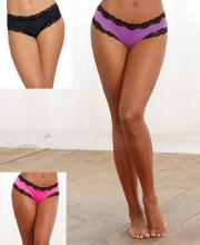 1434 Dreamgirl, Microfiber cheeky panty with stretch lace trim