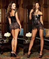 9367 Dreamgirl Faux leather lace boned corset