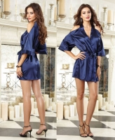 9706 Dreamgirl, Satin charmeuse kimono robe cut-out cold shoulder