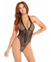 81558 Leg Avenue zip up thong back teddy