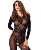 89151 Leg Avenue, Opaque long sleeved bodystocking with harness teddy