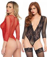 89220 Leg Avenue deep-V lace and net teddy