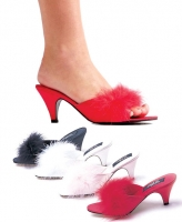Phoebe Ellie Shoes, 2.5 Inch Heel Satin Marabou Slippers Shoes